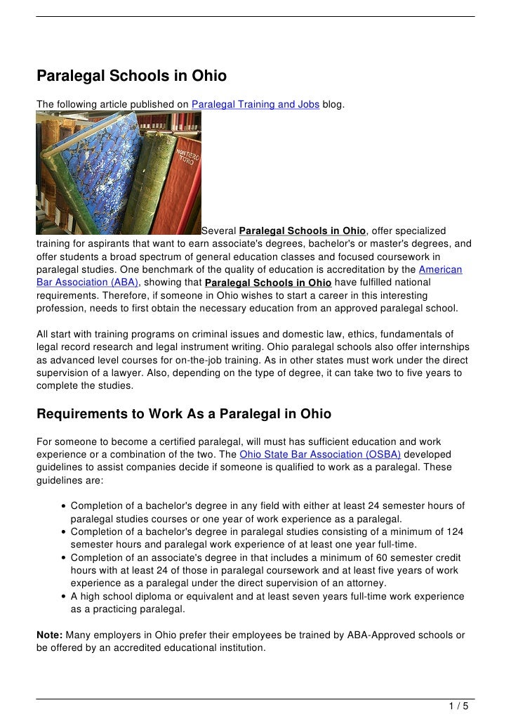 Paralegal Schools in OhioThe following article published on Paralegal Training and Jobs blog.                             ...