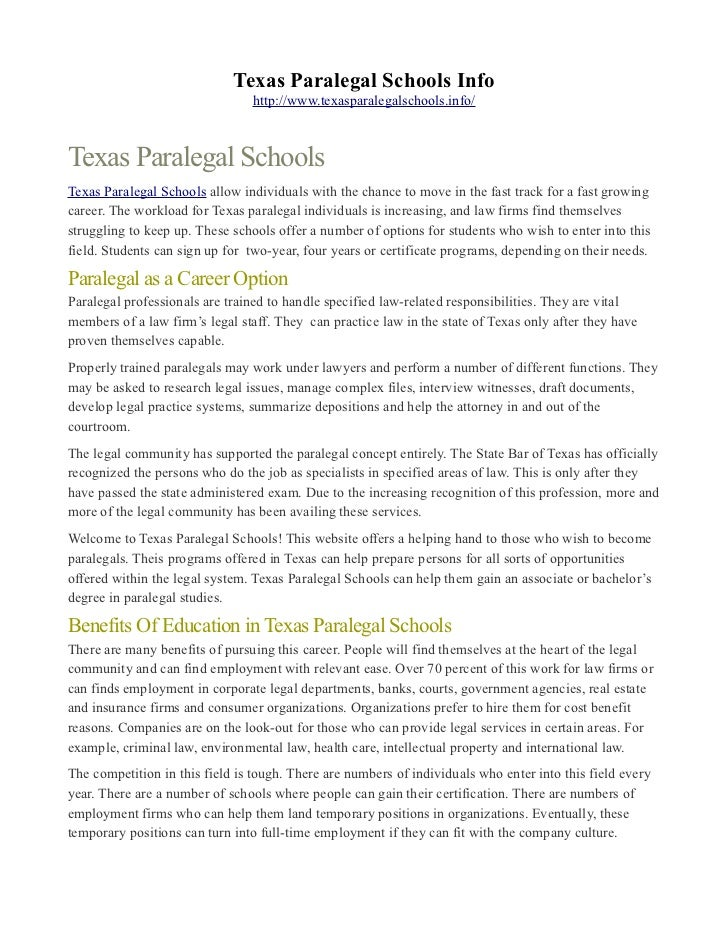 Texas Paralegal Schools Info                                 http://www.texasparalegalschools.info/Texas Paralegal Schools...