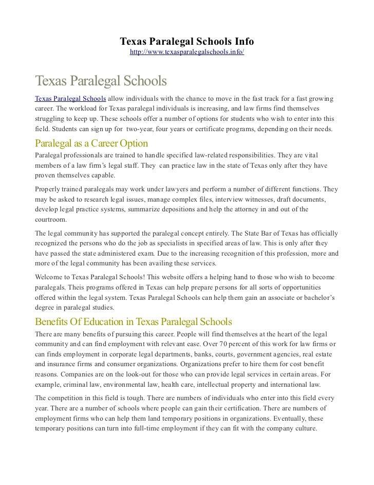 Texas Paralegal Schools Info
