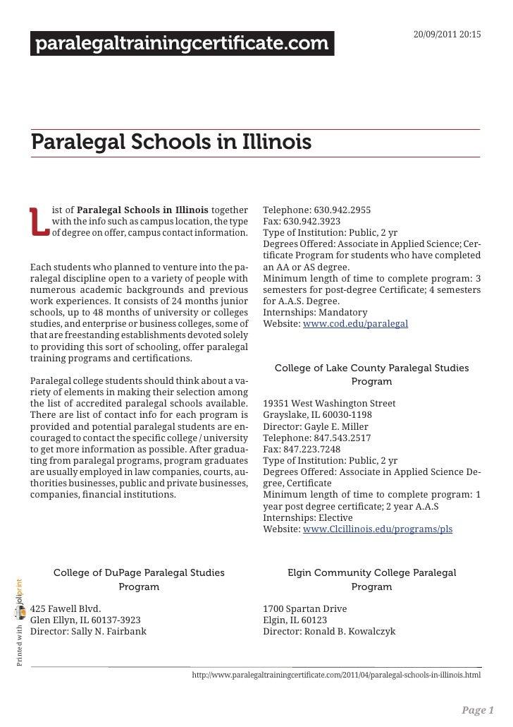 Paralegal schools in illinois