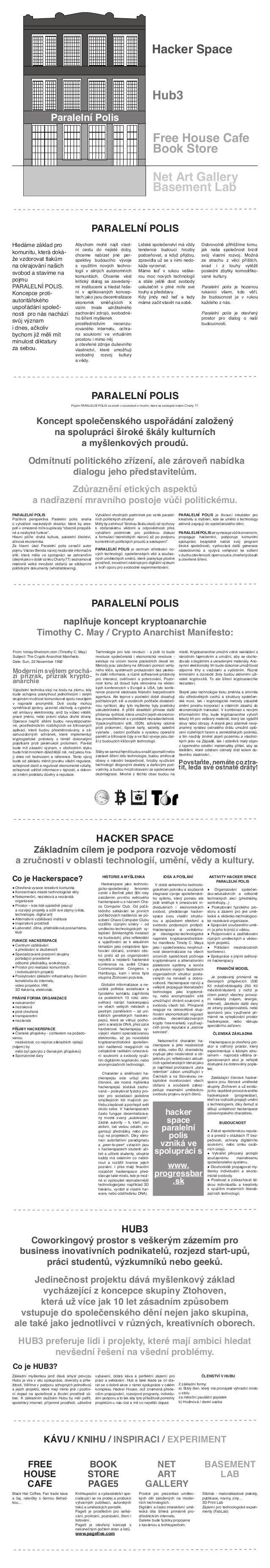 Paralelní Polis Hacker Space Hub3 Free House Cafe Book Store Net Art Gallery Basement Lab PARALELNÍ POLIS Hledáme základ p...