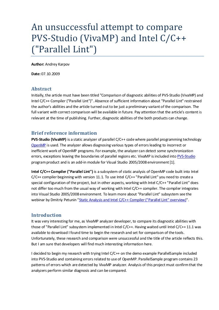 """An unsuccessful attempt to compare PVS-Studio (VivaMP) and Intel C/C++ (""""Parallel Lint"""")"""