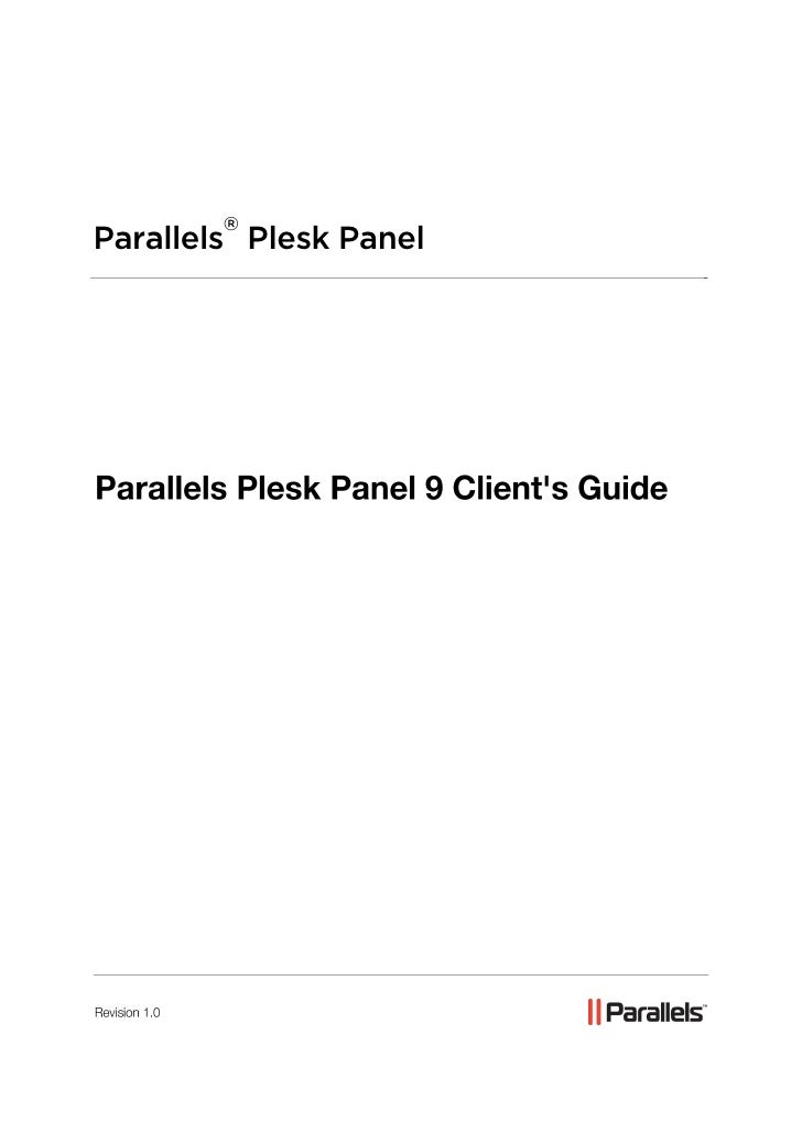 Parallels Plesk Panel 9 Client's Guide