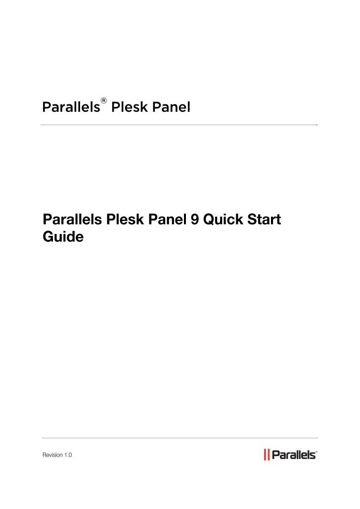 Parallels Plesk Panel 9 Quick Start Guide