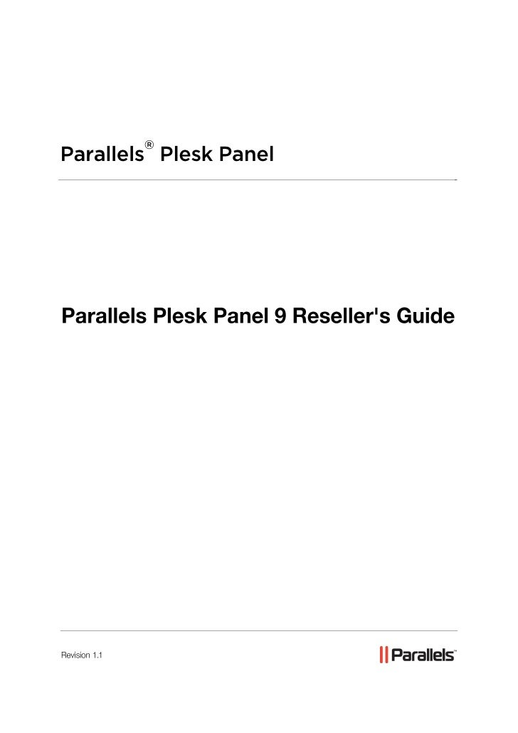Parallels Plesk Panel 9 Reseller's Guide