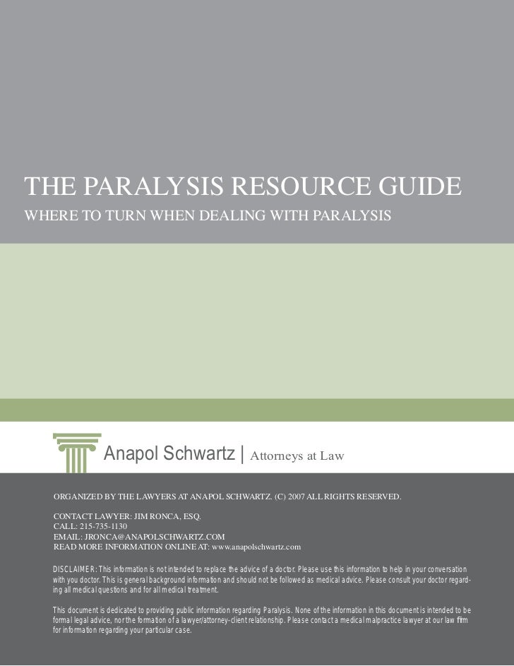 Paralysis Resources Guide from Philadelphia Lawyers at Anapol Schwartz