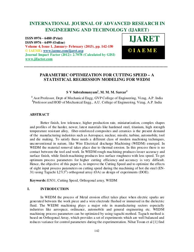 Parametric optimization for cutting speed – a statistical regression modeling for wedm