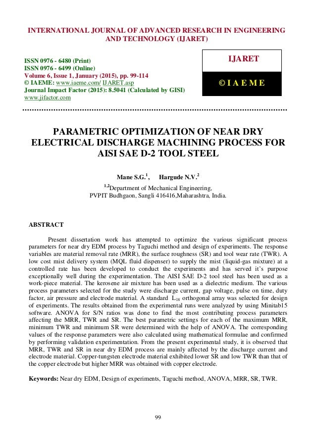 optimization of electrical discharge machining Abstract dry electric discharge machining (edm) is an environment–friendly modification of the conventional edm process, which is obtained by replacing the liquid dielectric by a gaseous medium in this study, multi– objective optimization of dry edm process has been done using the non dominated.