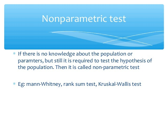 distinguish between parametric vs nonparametric test