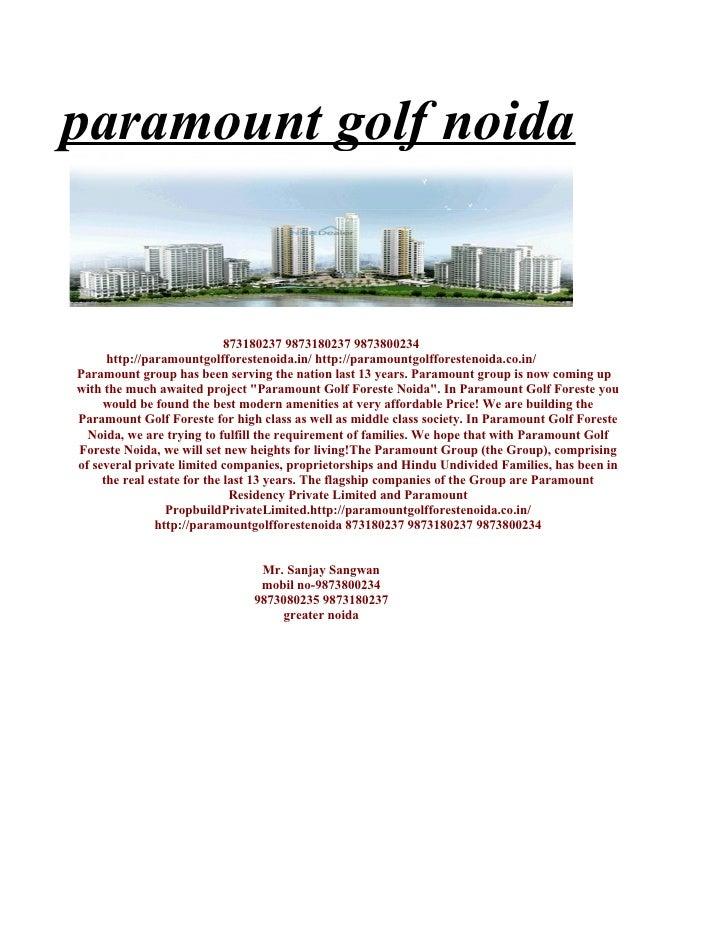 paramount golf forest || 9873800234 || paramount golf foreste || paramount