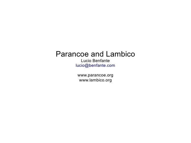 Parancoe and Lambico
