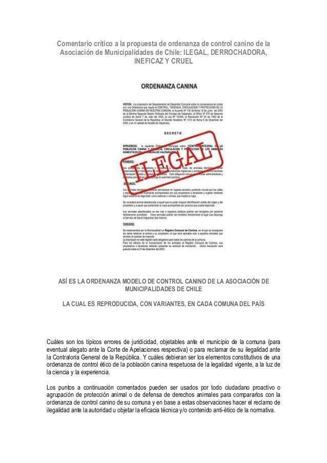 Comentario crítico a la propuesta de ordenanza de control canino de la Asociación de Municipalidades de Chile: ILEGAL, DER...