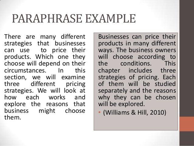 Paraphrasing Essay Chapter 9 Essay Essentials Quote Paraphrase