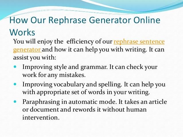 Rephrase sentence online