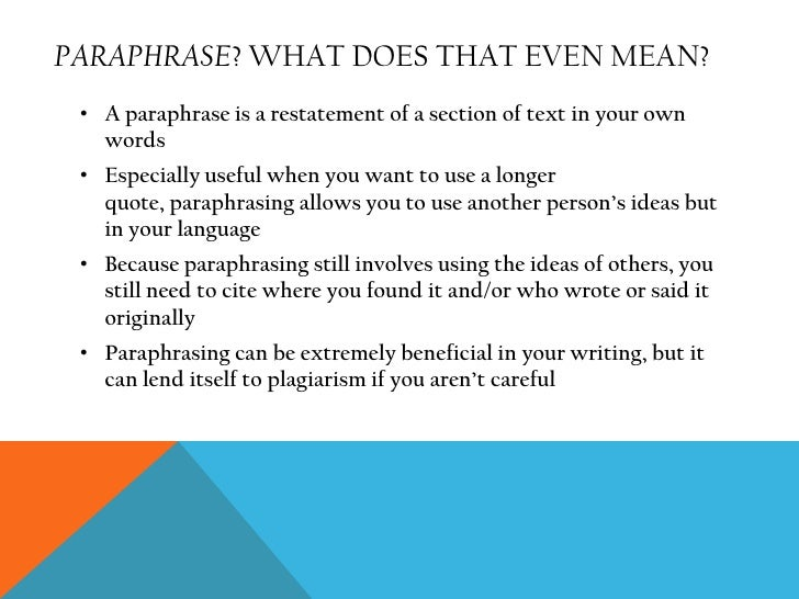 What paraphrase mean