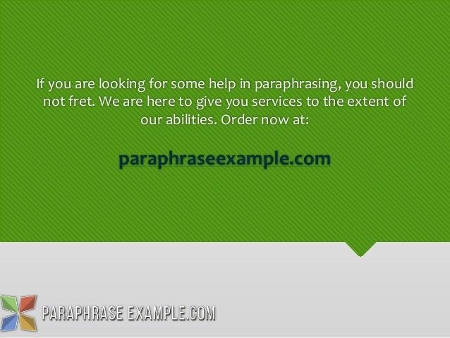 Paraphrase help