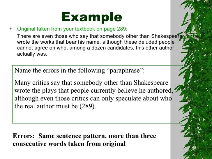 Paraphrasing quotations