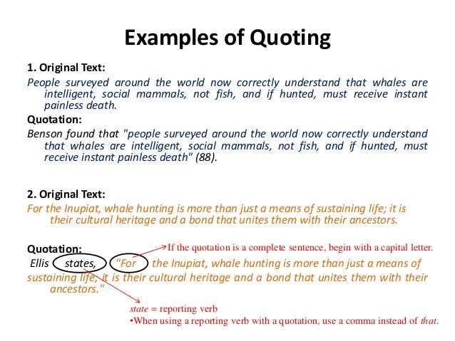 Quoting correctly in an essay
