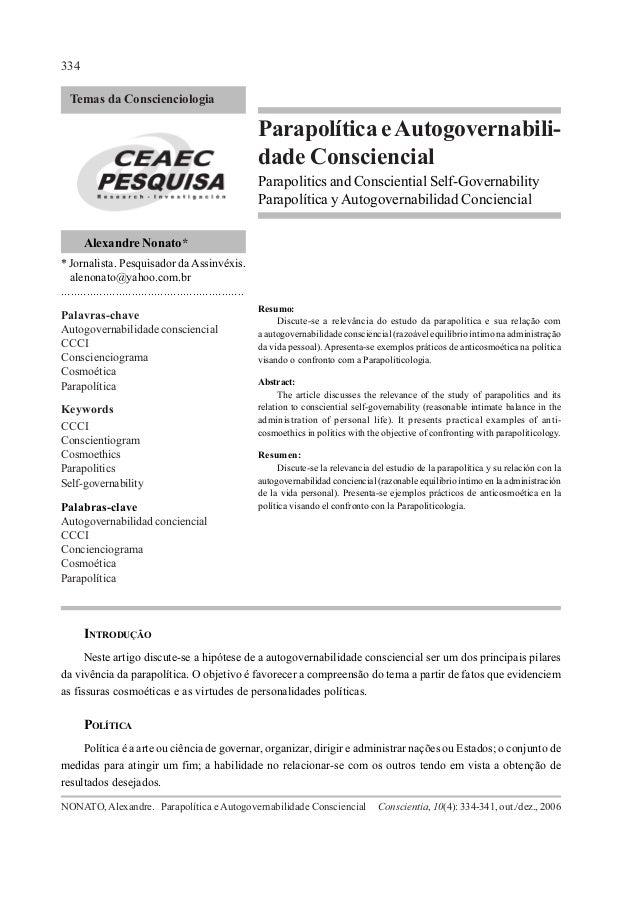 334  Temas da Conscienciologia                                                            Parapolítica e Autogovernabili- ...