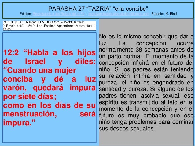 """1 PARASHÁ 27 """"TAZRIA"""" """"ella concibe"""" Edicion: Regresando a las Raices de la Fe – regresandoalasraicesdelafe@gmail.com Estu..."""