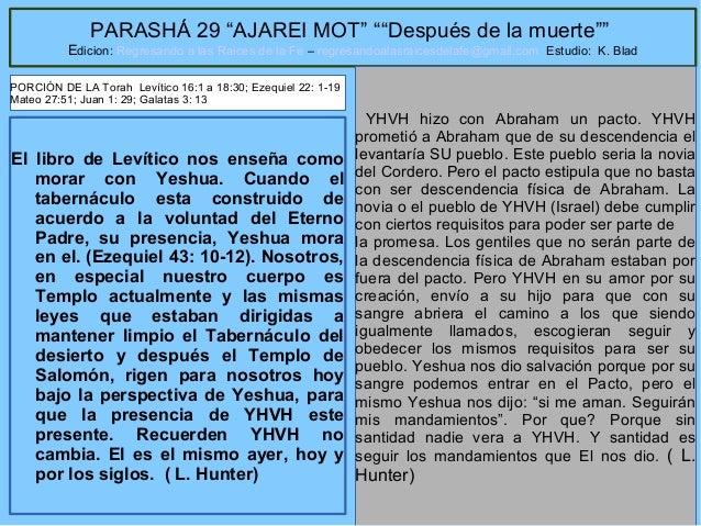 """1 PARASHÁ 29 """"AJAREI MOT"""" """"""""Después de la muerte"""""""" Edicion: Regresando a las Raices de la Fe – regresandoalasraicesdelafe@..."""