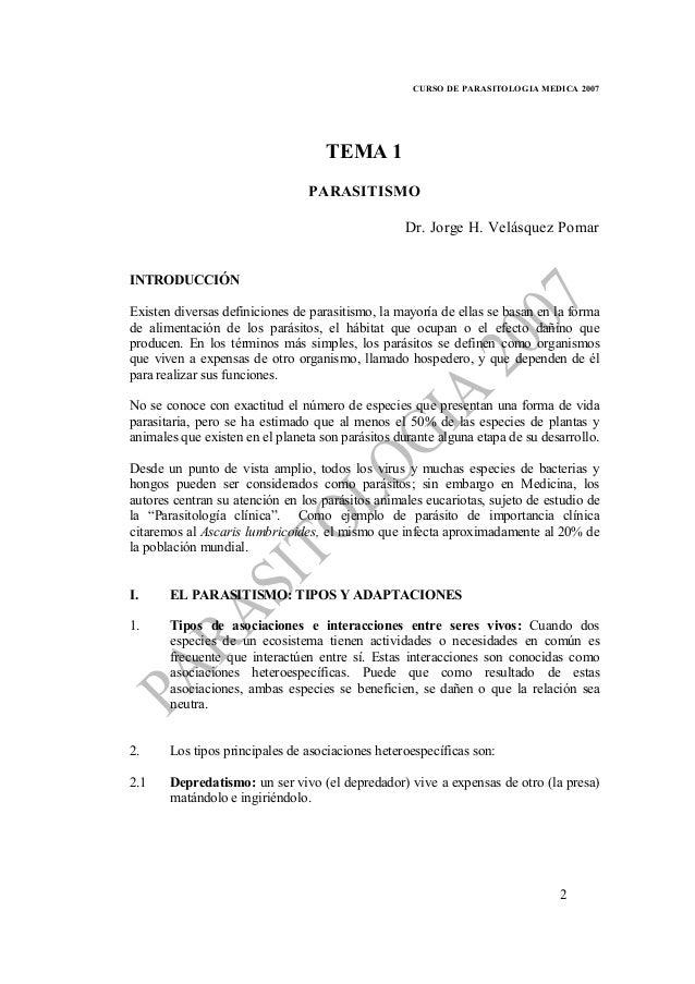 CURSO DE PARASITOLOGIA MEDICA 2007                                    TEMA 1                                 PARASITISMO  ...