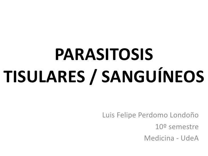 PARASITOSIS TISULARES / SANGUÍNEOS<br />Luis Felipe Perdomo Londoño<br />10º semestre<br />Medicina - UdeA<br />
