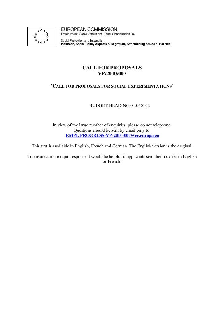 Paraskevas CALL FOR PROPOSALS VP/2010/007