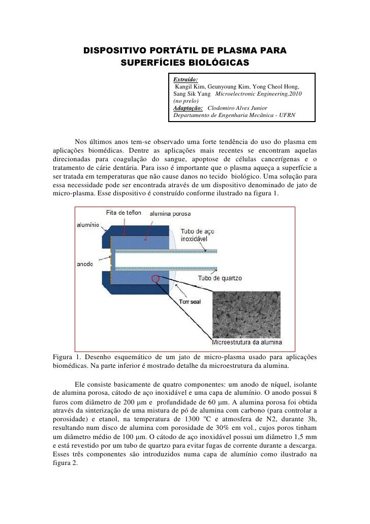 DISPOSITIVO PORTÁTIL DE PLASMA PARA                 SUPERFÍCIES BIOLÓGICAS                                         Extraíd...