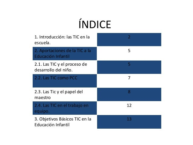 ÍNDICE 1. Introducción: las TIC en la escuela. 2 2. Aportaciones de la TIC a la Educación Infantil 5 2.1. Las TIC y el pro...