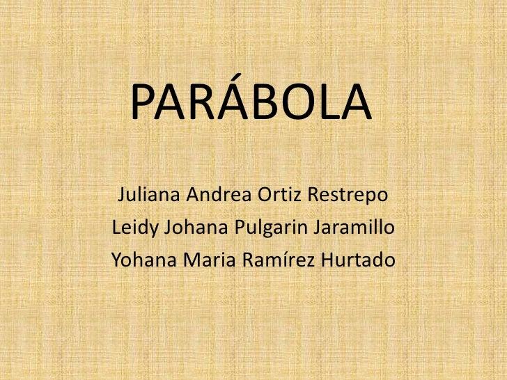 PARÁBOLA  Juliana Andrea Ortiz Restrepo Leidy Johana Pulgarin Jaramillo Yohana Maria Ramírez Hurtado