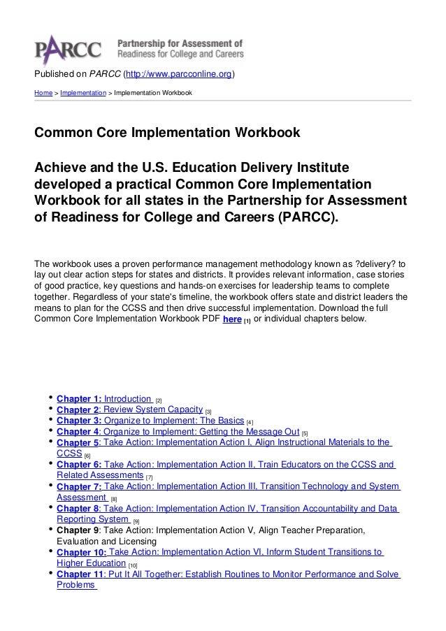 Parcc   common core implementation workbook - 2012-08-16