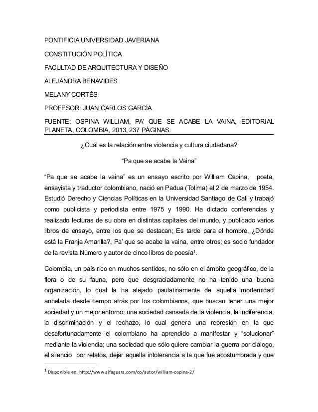 PONTIFICIA UNIVERSIDAD JAVERIANA CONSTITUCIÓN POLÍTICA FACULTAD DE ARQUITECTURA Y DISEÑO ALEJANDRA BENAVIDES MELANY CORTÉS...
