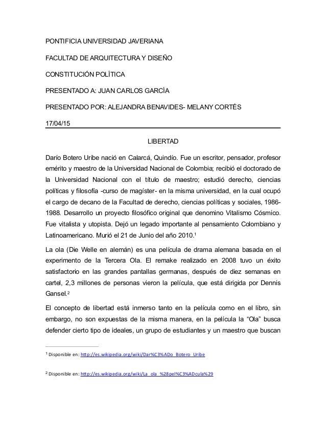 PONTIFICIA UNIVERSIDAD JAVERIANA FACULTAD DE ARQUITECTURA Y DISEÑO CONSTITUCIÓN POLÍTICA PRESENTADO A: JUAN CARLOS GARCÍA ...