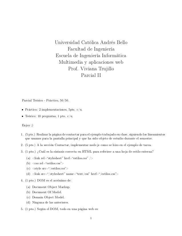 Universidad Católica Andrés Bello Facultad de Ingeniería Escuela de Ingeniería Informática Multimedia y aplicaciones web P...