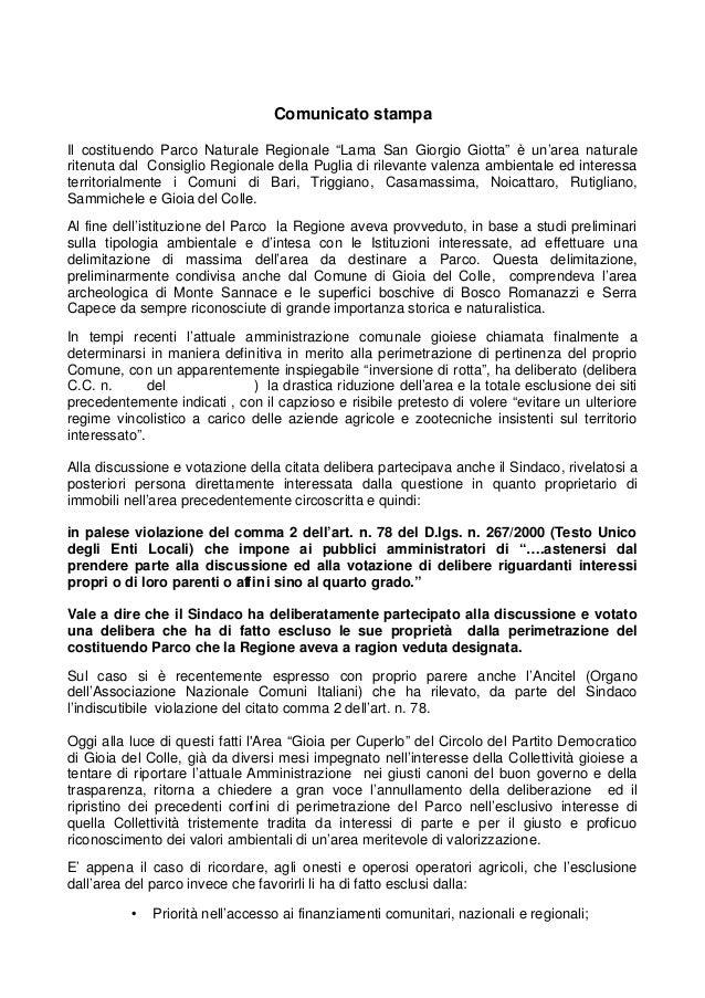 """Comunicato stampa Il costituendo Parco Naturale Regionale """"Lama San Giorgio Giotta"""" è un'area naturale ritenuta dal Consig..."""