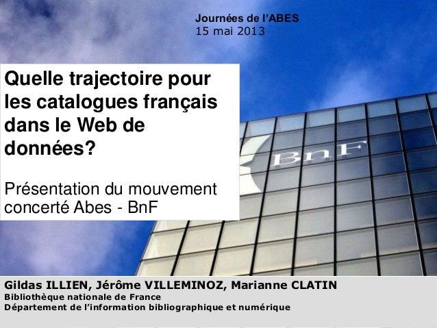 Gildas ILLIEN, Jérôme VILLEMINOZ, Marianne CLATINBibliothèque nationale de FranceDépartement de l'information bibliographi...