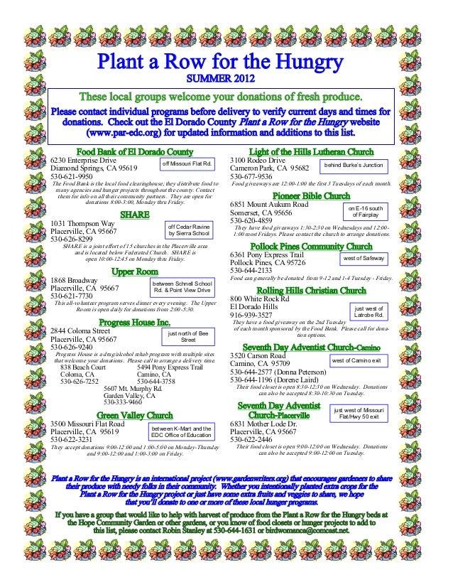 Plant a Row for the Hungry - Plant A Row El Dorado County, California