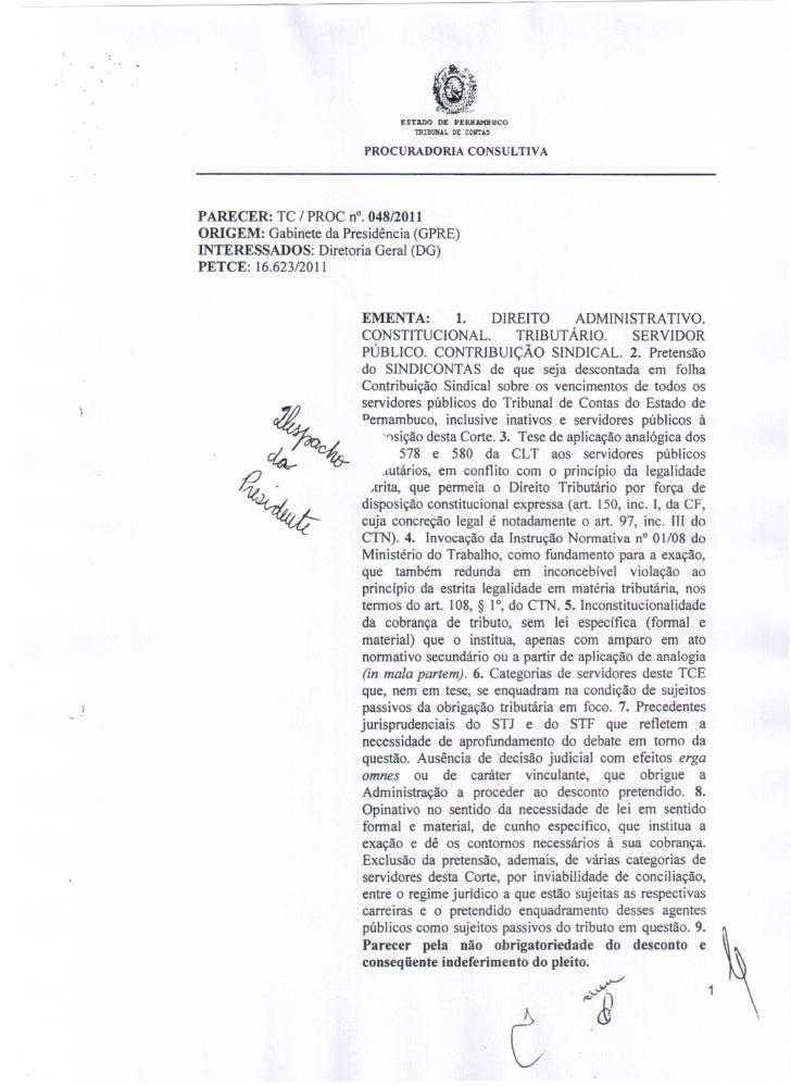 Parecer tc proc nº 048 2011 procuradoria consultiva
