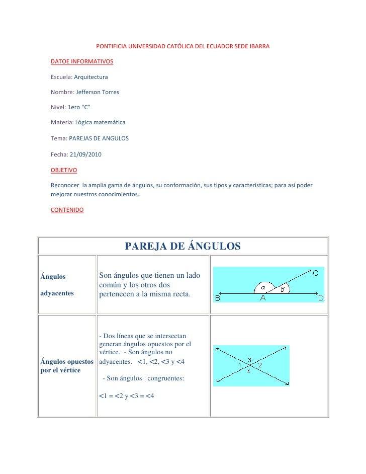 PONTIFICIA UNIVERSIDAD CATÓLICA DEL ECUADOR SEDE IBARRA<br />DATOE INFORMATIVOS<br />Escuela: Arquitectura<br />Nombre: Je...