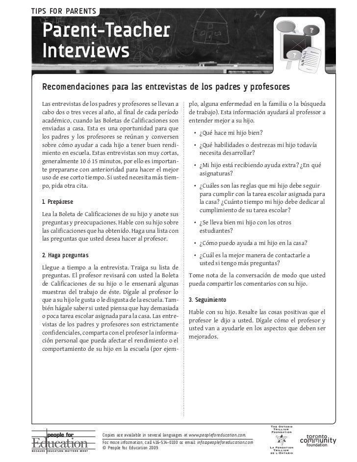 TIPS FOR PARENTS  Parent-Teacher  Interviews  Recomendaciones para las entrevistas de los padres y profesores  Lasentrevi...
