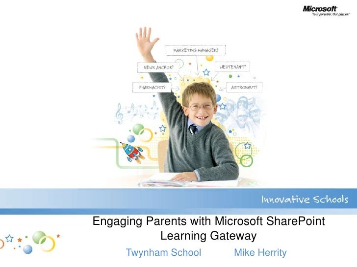 Engaging Parents with Microsoft SharePointLearning Gateway<br />Twynham School            Mike Herrity<br />
