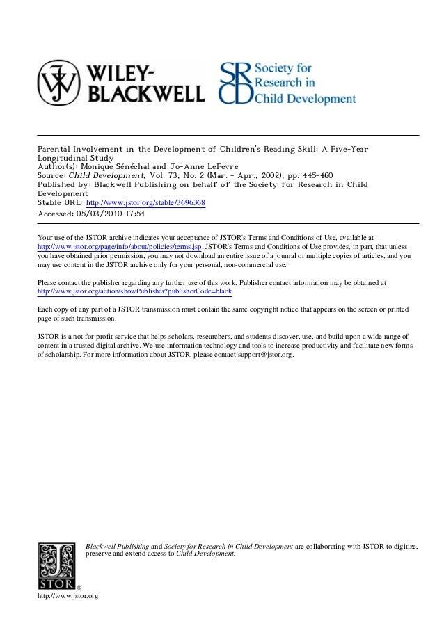 Parental involvement in the development of children's reading skill