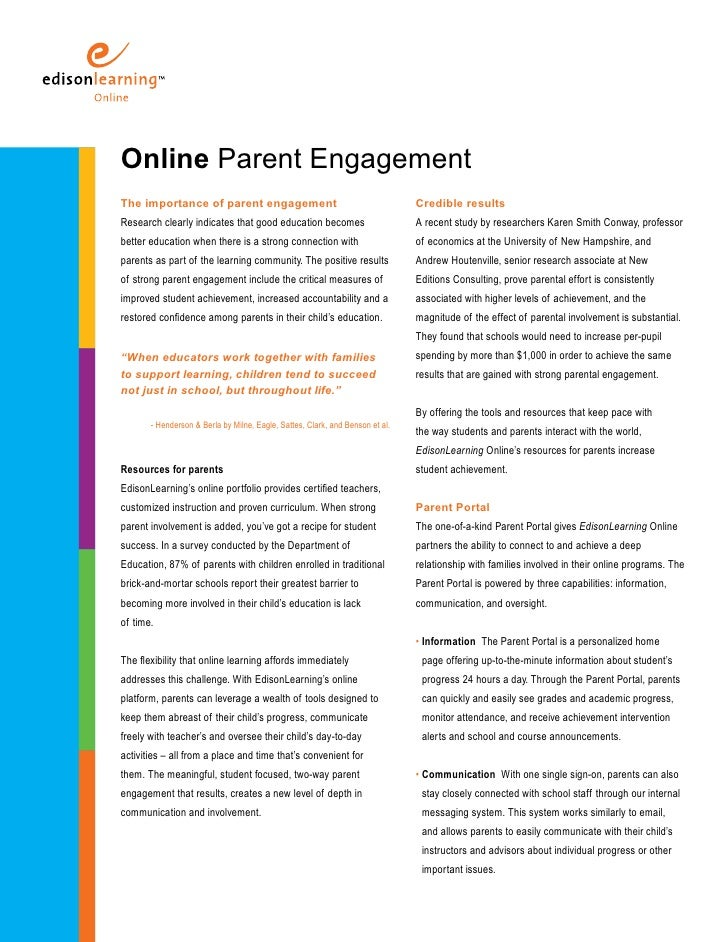 Online Parent Engagement The importance of parent engagement                                            Credible results R...