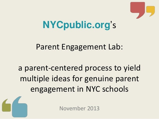 Parent Engagement Lab NYC Dec 2012