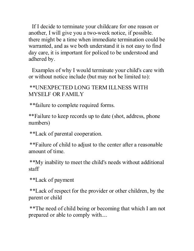 Daycare Termination Letter Samples Daycare Termination Letter