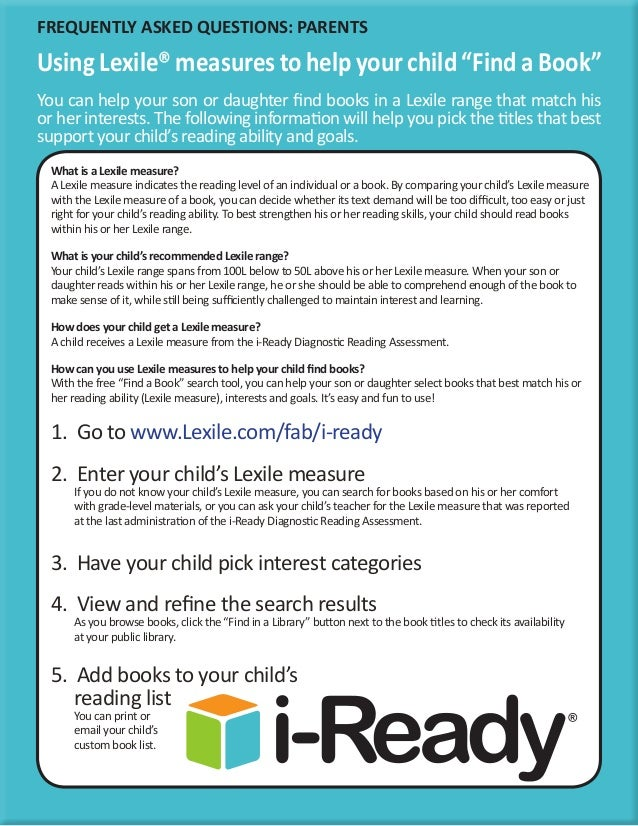 Parent handout for find a book i ready click for details types i ready