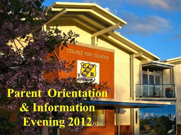 Parent Orientation Evening 2012
