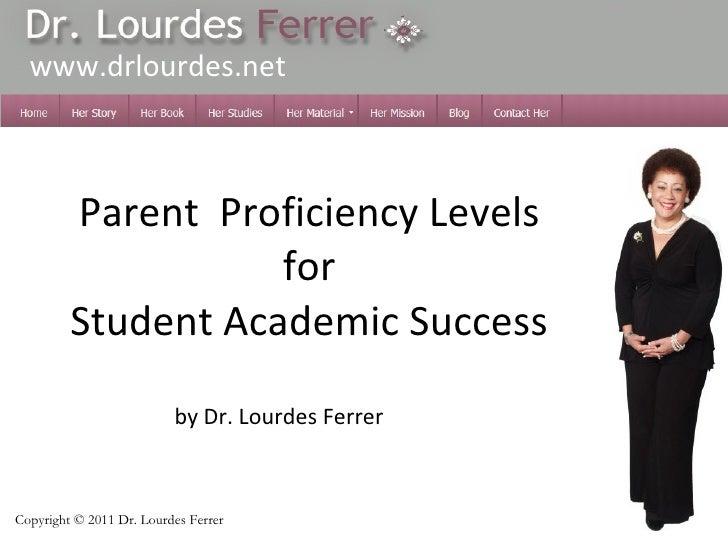Parent  Proficiency Levels   for    Student Academic Success  by Dr. Lourdes Ferrer www.drlourdes.net Copyright  ©  2011 ...