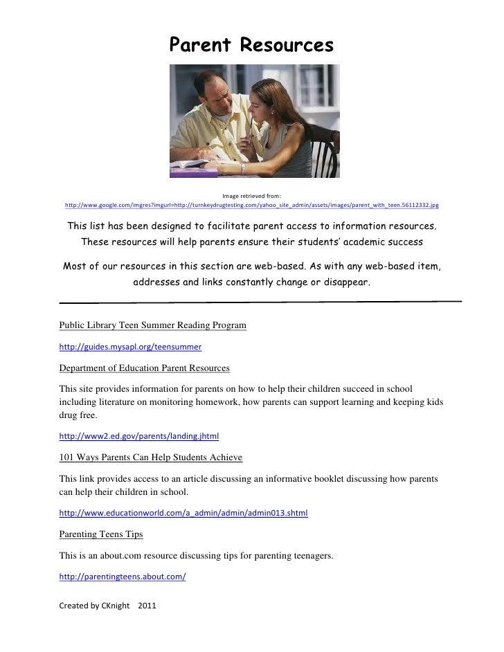 Parent Resources                                                      Image retrieved from: http://www.google.com/imgres?i...